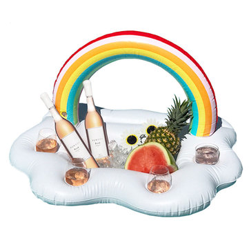 Inflatable 4 Holes Rainbow Cloud Water Float Beverage Drink Cups Holder Tub Bar Swim Pool Game Toy
