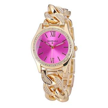 BAOSAILI Luxury Diamond Ladies Dress Wristwatch Stainless Steel Chain Women Bracelet Quartz Watch