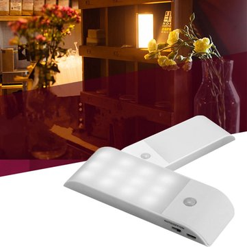 12 LED USB Rechargeable Cabinet Light PIR Motion Sensor Induction Night Lamp Closet Wall