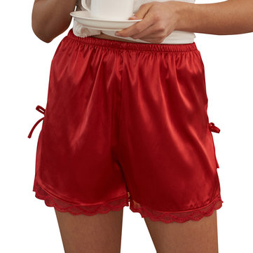 Silk Lace Trim Women Shorts Side Open Bowknot Pajama Pants