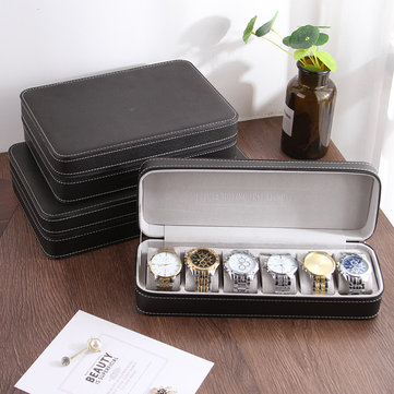 6 Grids PU Leather Watch Box Collection Display Gift Box
