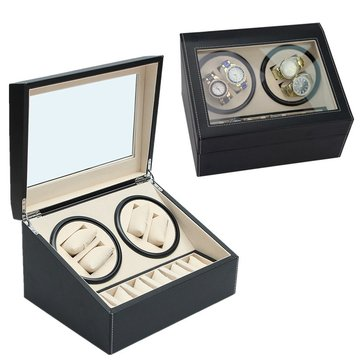 Luxury PU Leather Automatic 4+6 Watch Winder Rotator Storage Case Display Box