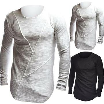 Men's Fashion Crew Neck Long Sleeve Muscle T-shirt Casual Solid Color Gym Fitness Blouse