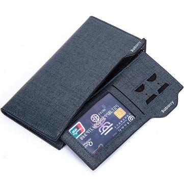 18 فتحات بطاقة الرجال بو الجلود عارضة الأعمال طويلة محفظة متعددة الوظائف براثن حقيبة حامل البطاقة