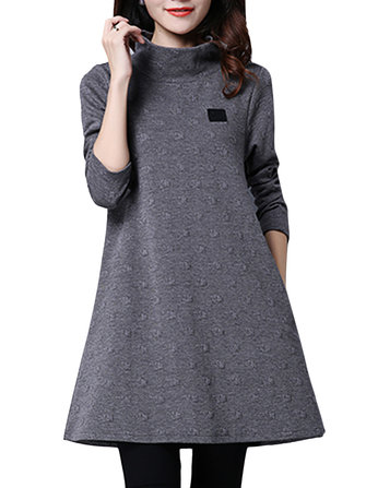 Elegant Women Pure Color High Collar Long Sleeve Warm Dress
