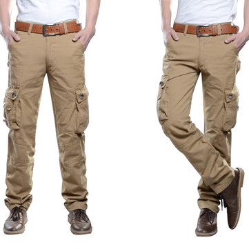 Mens Outdooors Tactical Army Military Solid Color Cargo Pants Casual Multi Pocket Cotton Trousers