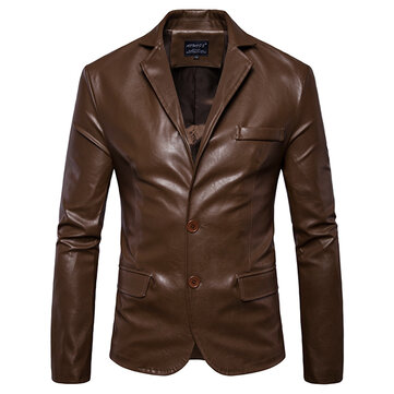 Mens Lapel Collar Slim Fit Black Solid Color Fashion Faux Leather Jacket
