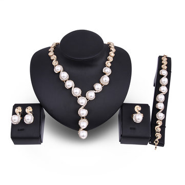 18K Gold Plated Necklace Pearl Earrings Ring Rhinestone Wedding Party Jewelry Set for Women