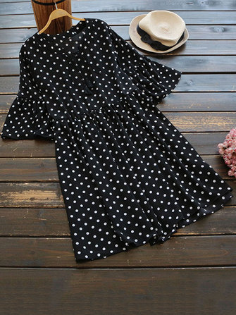 Women Polka Dot Print Lace Up Ruffle Sleeve Blouse