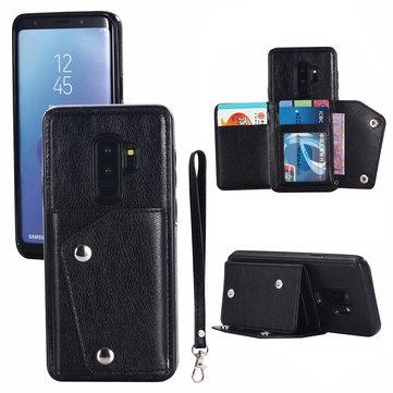 Bakeey Classic için PU Deri Cüzdan Kart Yuvaları Dirsek Koruyucu Kılıf Samsung Galaxy S9 Plus