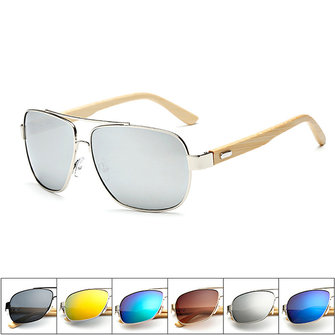 UV400 Bamboo Legs Men Women Sunglasses Metal Frames Outdoor Colorful Glasses Goggle