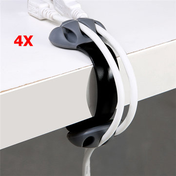 4 Pcs Silicone Anti-skid Desktop Clip-on Cable Holder Organizer Winder Wire Mount Management