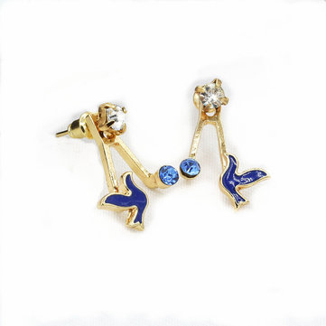 Trendy Sweet Rhinestones Birds Stud Earring Ear Jacket Animal Earrings for Women
