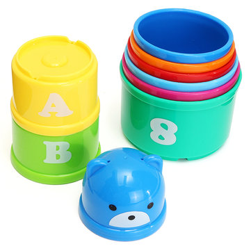 Kids Fun Piles Cup Baby Bath Toy Stacking Pile Up Tower Count Cups Count Number Letter