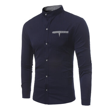 Casual Stylish Chest Pockets Slim Band Collar Button Up Designer Shirts for Men