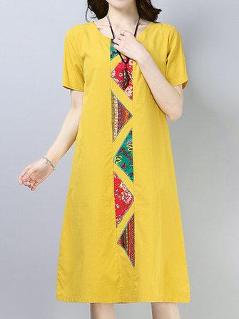Vintage Women Cotton Loose Short Sleeve O-Neck Mid Long Dress