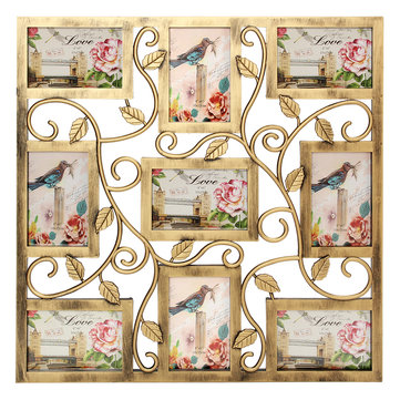 Bronze Floral Wall Hanging Collage Photo Frames Picture Display Decor Gift 6X4inch