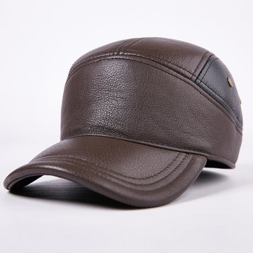 Men Cowhide Vintage Baseball Cap Outdoor Warm Adjustable Sports Cap