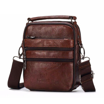 FUZHINIAO Men Luxury Genuine Leather Messenger Bag Brand Designer High Quality Shoulder Bag