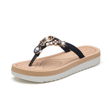 Women Summer Beach Casual Clip Toe Comfy Flat Sandals
