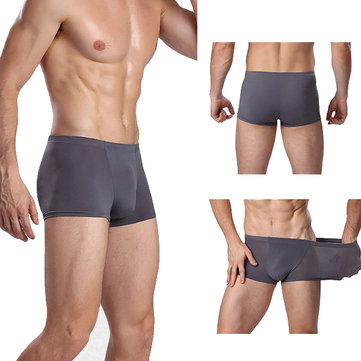 Mens Ice Silk Sexy Transparent Breathable U Convex Pouch Solid Color Underwear Casual Soft Boxers