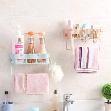 Bathroom Towel Combination Rack Multi-purpose Sorting Shelf Hook No Holes No Mark Hanging