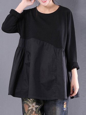 Women Patchwork Pleated O-neck Long Sleeve Blouses
