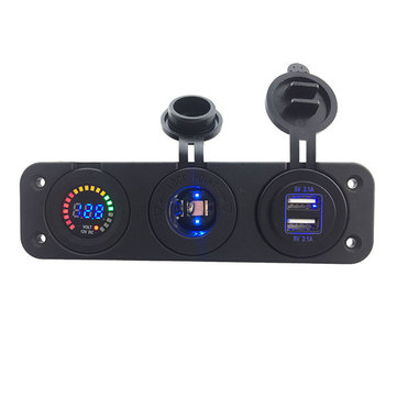 12V Colorful Digital Voltmeter Dual 4.2A USB Adapter Charger Cigarette Lighter Sockets