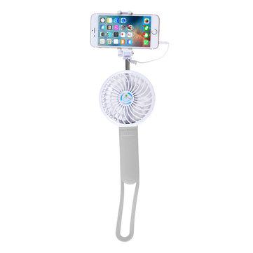 Portable Rechargeable Multifunctional Handheld Stretchable Selfie Stick Power Bank 3 Grades Adjustment Fan