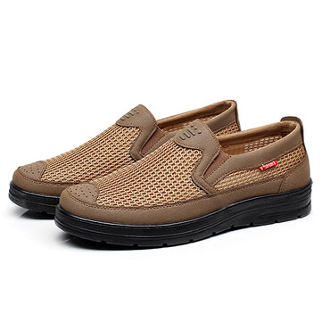 Men Comfy Casual Slip On Breathable Mesh Oxfords