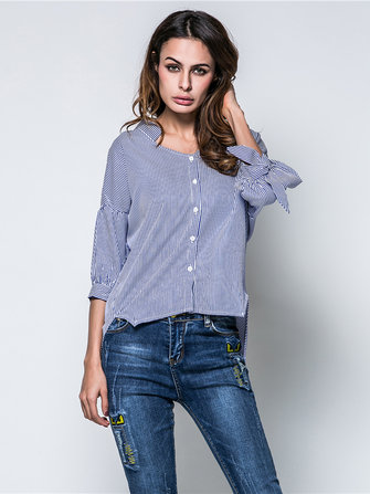 Autumn Women V Neck Bowtie Lantern Sleeves Stripe Blouse