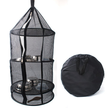 KCASA KC-FS05 4 Layers Drying Rack Hanging Dry Net Foldable Round Black Kitchen Mesh Storage Basket