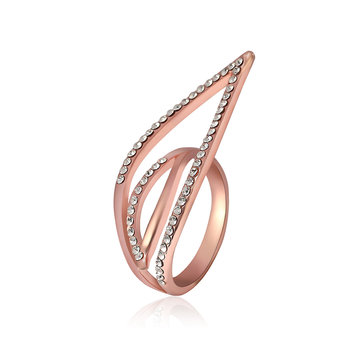 Streamline Leaf Shape Stylish Finger Ring Rhinestone Eco Friendly Accessories Anallergic Jewelry