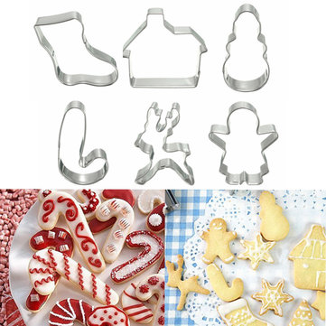 6Pcs Christmas Xmas Biscuit Cake Cookies Cutter Pastry Cake Decorating Mold