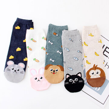 Women Girl Cartoon Cute Cotton Ankle Socks High Elastic Adjustable Summer Socks