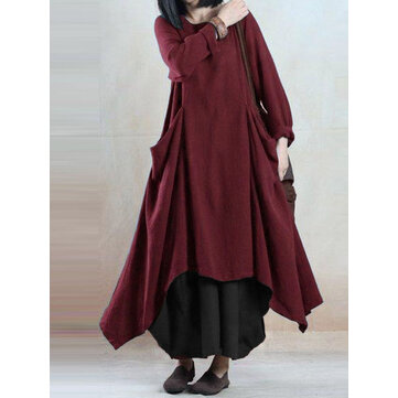 M-5XL Vintage Women Pocket Loose Asymmetrical Hem Dress