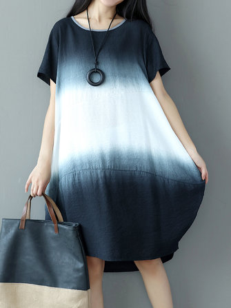 Women Vintage Gradient Short Sleeve Dresses Round Neck Dresses