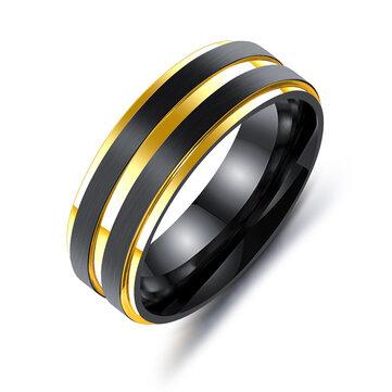 7mm Black Gold Double Plating Finger Rings Titanium Steel Ring for Men