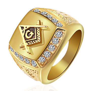Fashion Gold Titanium Steel Finger Ring Rhinestone Free-Mason Logo Jewelry Gift for Men