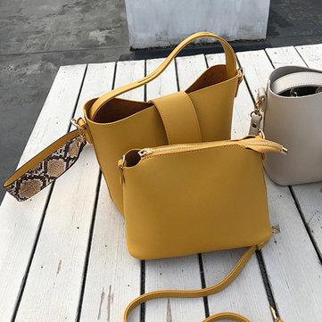 Two-piece Solid Snake Pattern Bucket Handbag Shoulder Bag