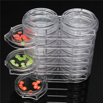 12 Rotating Drawers Clear Empty Nail Art Tips Collecting Deco Gems Rhinestone Storage Clear Case