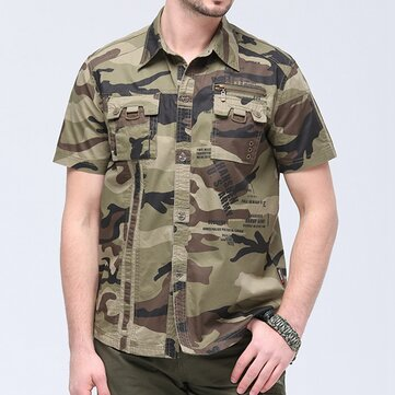 Tactical Military Style Pockets Cotton Camo Cargo Work Shirt