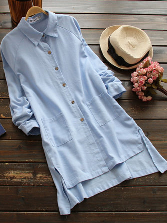 Mori Girl Long Sleeve Pure Color Casual Button Shirt