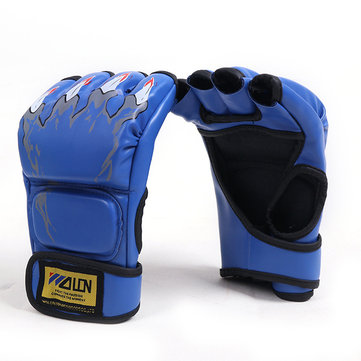Mens Breathable Sporty Style Design Fingerless Boxing Gloves Open Figure Adjustable Gloves