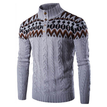 Mens Casual Comfy Stitching Knit Breathable Print Slim Long Sleeve Pullovers Sweaters