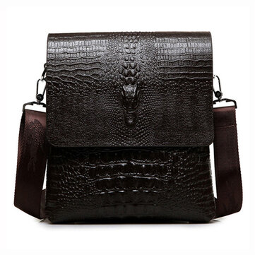 Men Business PU Alligator Grain Black Brown Shoulder Crossbody Messenger Bag Briefcase