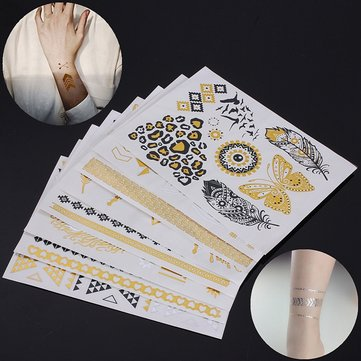 Metallic Metal Body Temporary Tattoo Gold Silver Black Flash Tattoos Sticker Decal