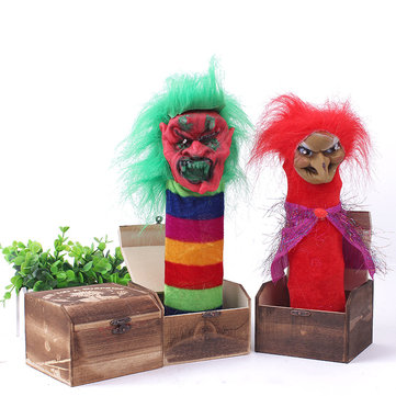 Halloween Wooden Box Horror Trick Prank Electric Voice Activated Decoration Toys Random Color