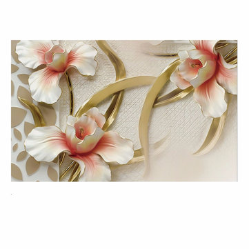 Modern 3D Wall Paper Roll Lily Flower Wall Sticker Bedroom Background Room Home Mural Decor