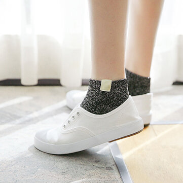 Women Flash Sequins Cotton Socks Summer Breathable Fashion Solid Color Short Ankle Socks